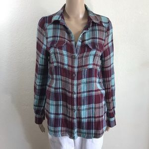 Paige Flannel Plaid Long Sleeve Shirt Size S